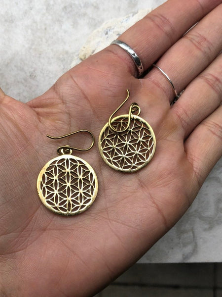 2.5cm x 2.5cm Seed of Life earrings, indian brass earrings, tribal earrings, gypsy earrings, gold earrings, sacred geometry earrings, U