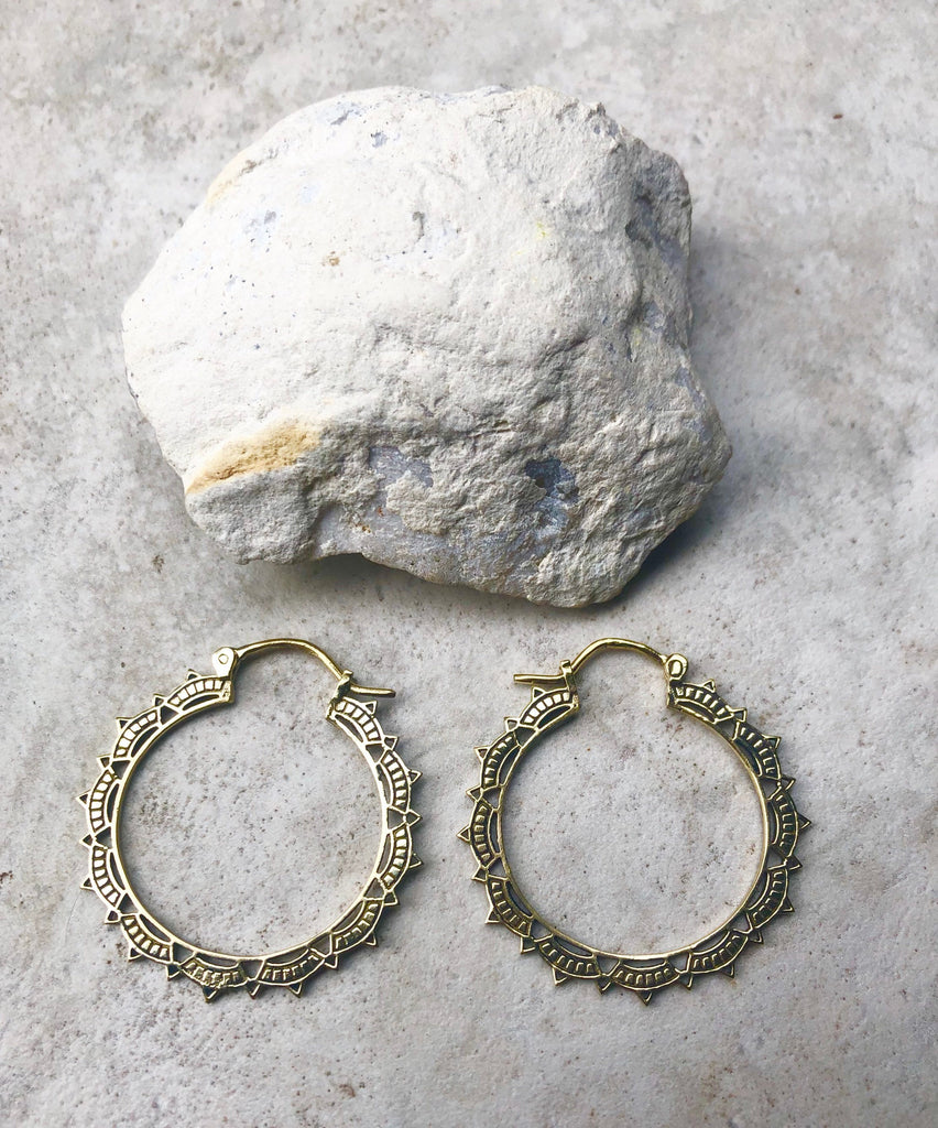 Aiysha hoops, mandala earrings, large hoop earrings, boho earrings, gold hoops, hoop earrings, large tribal brass hoops, B
