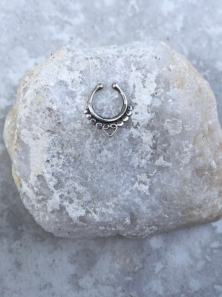 Sterling Silver Faux septum ring, fake septum ring, silver septum ring, fake nose ring, tribal septum ring