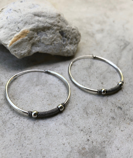 Large Tribal sterling silver hoop earrings, 4cm hoop earrings, silver hoop earrings, Bali hoops, big hoops