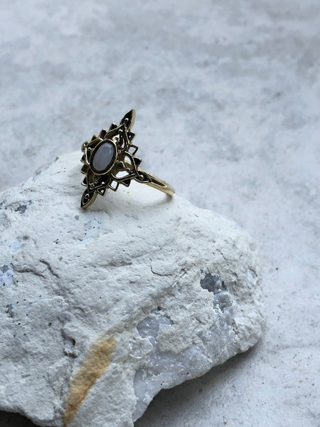Moonstone ring, brass ring, gold ring, crystal ring, gypsy ring, boho ring, gemstone ring
