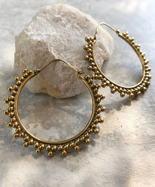 PHOENIX HOOPS brass earrings~ large tribal Brass earrings, gold earrings, gypsy earrings, boho earrings, goddess earrings, brass earrings
