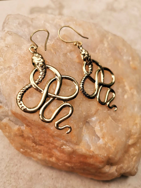 Sacred Serpent earrings, serpent  earrings, snake earrings, gold earrings