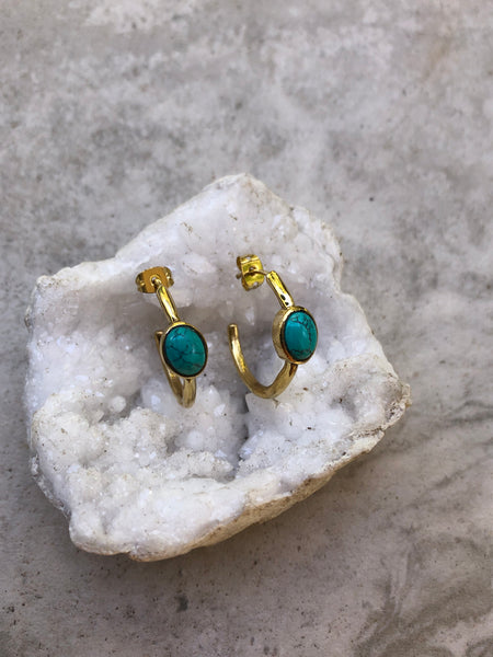 Turquoise Hoop earrings, small brass hoop earrings, gold hoop earrings, indian brass earrings, gypsy earrings, thick gold hoops