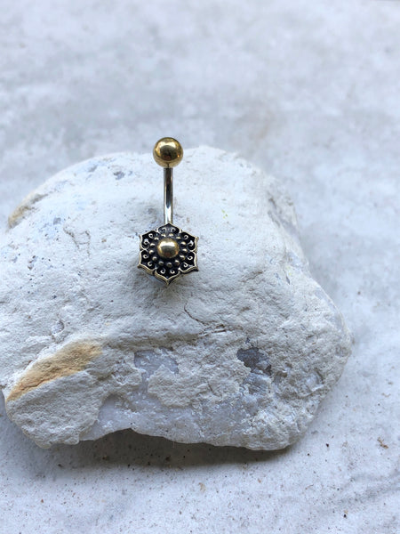 Mandala belly bar, boho belly ring, gold belly ring, hippie belly bar
