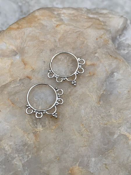 925 Sterling Silver hoop earrings, gypsy earrings, boho earrings, silver earrings, sterling silver hoops, hoop earrings, SS7