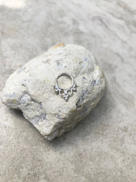 92.5 Sterling silver septum ring, indian septum ring, tribal septum ring, nose ring, boho septum ring
