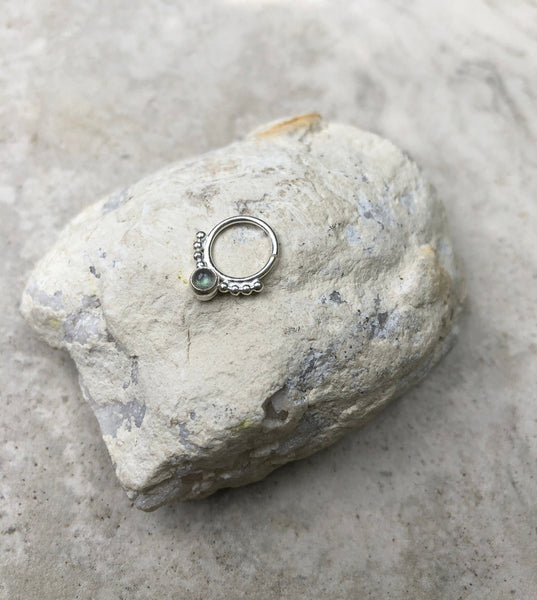 Labradorite  92.5 Sterling silver septum ring, indian septum ring, tribal septum ring, nose ring, boho septum ring, gemstone septum ring