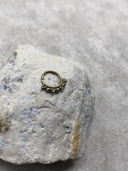 brass septum ring, gold septum ring, tribal septum ring, SR54