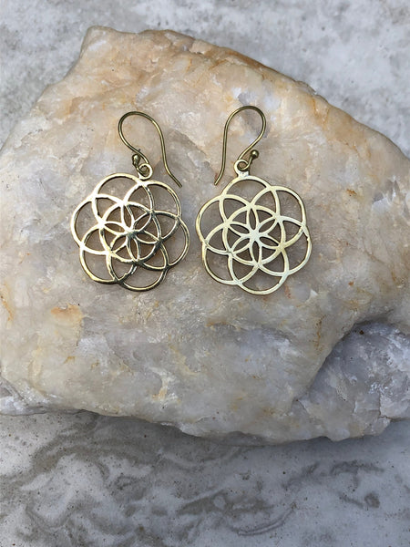 2.5cm x 2.5cm Seed of Life earrings, indian brass earrings, tribal earrings, gypsy earrings, gold earrings, sacred geometry earrings, BE1