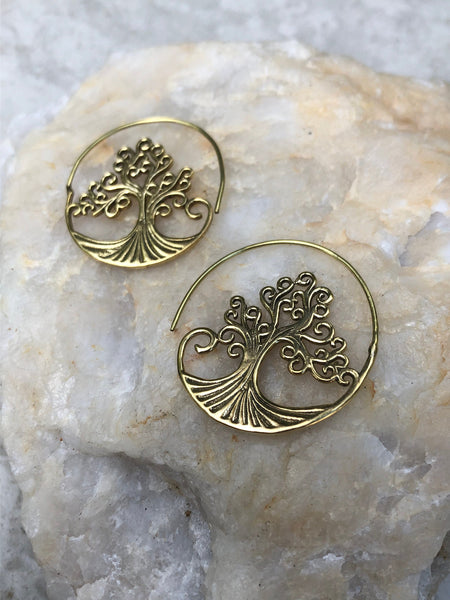 4 cm x 4 cm Pachamama Brass earrings, indian brass earrings, tribal earrings, gypsy earrings, spiral earrings, tree earrings, BE50