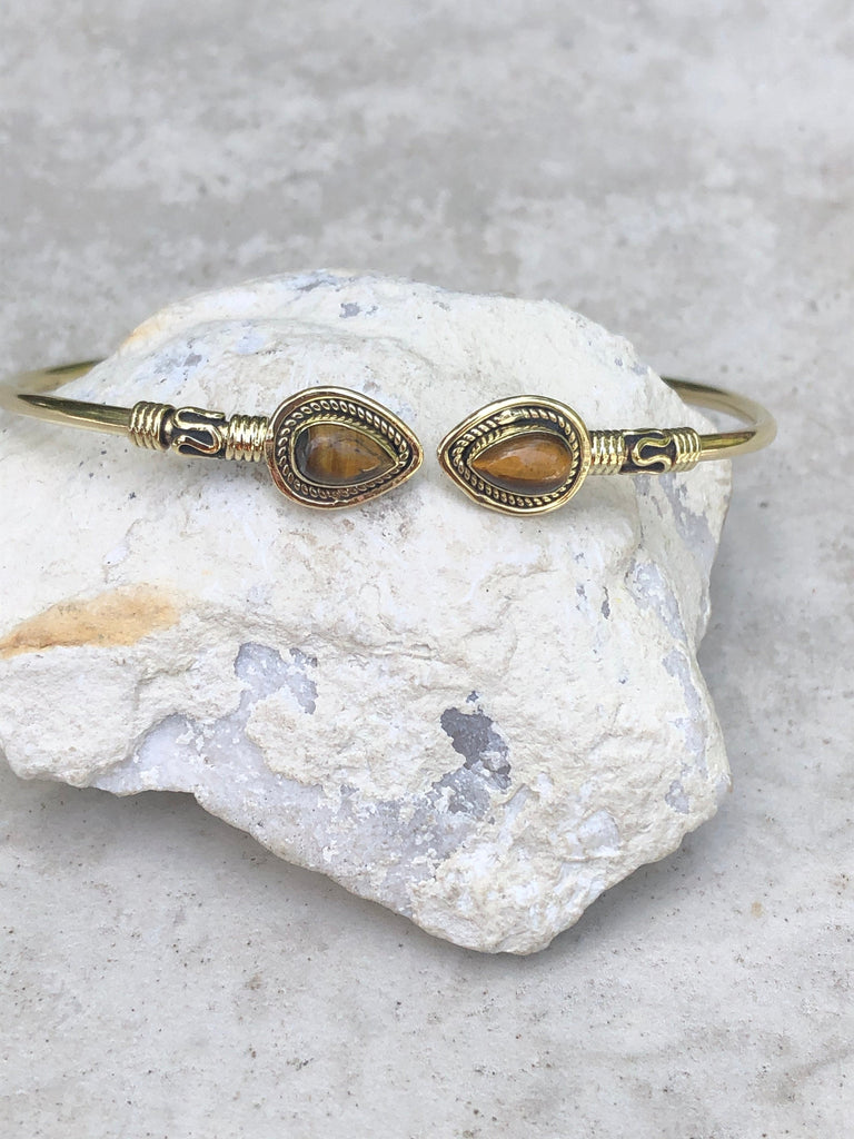 Tiger Eye brass bangle, tribal bangle, adjustable bangle, gypsy bangle, gold bangle