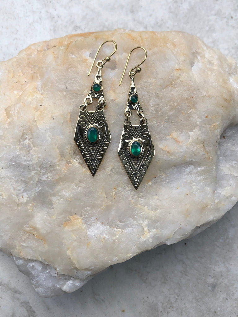 Aventurine gemstone earrings, gold earrings, brass gypsy earrings, boho earrings, Brass earrings, 99