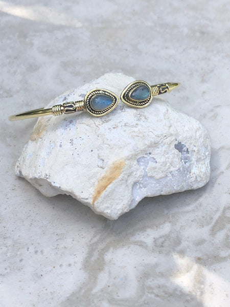 Labradorite brass bangle, tribal bangle, adjustable bangle, gypsy bangle, 56 - Moonstone Designs
