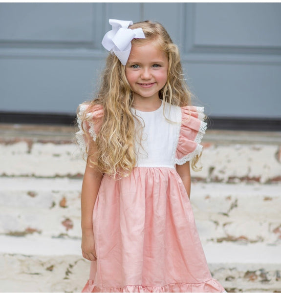 Grace peach linen dress