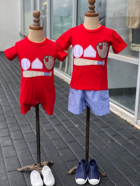 Baseball Applique Boys T-shirt & shorts