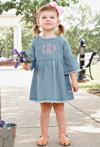 Light Wash Denim Frayed Babydoll Dress