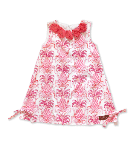 Pineapple Shift Dress w/ Rosettes