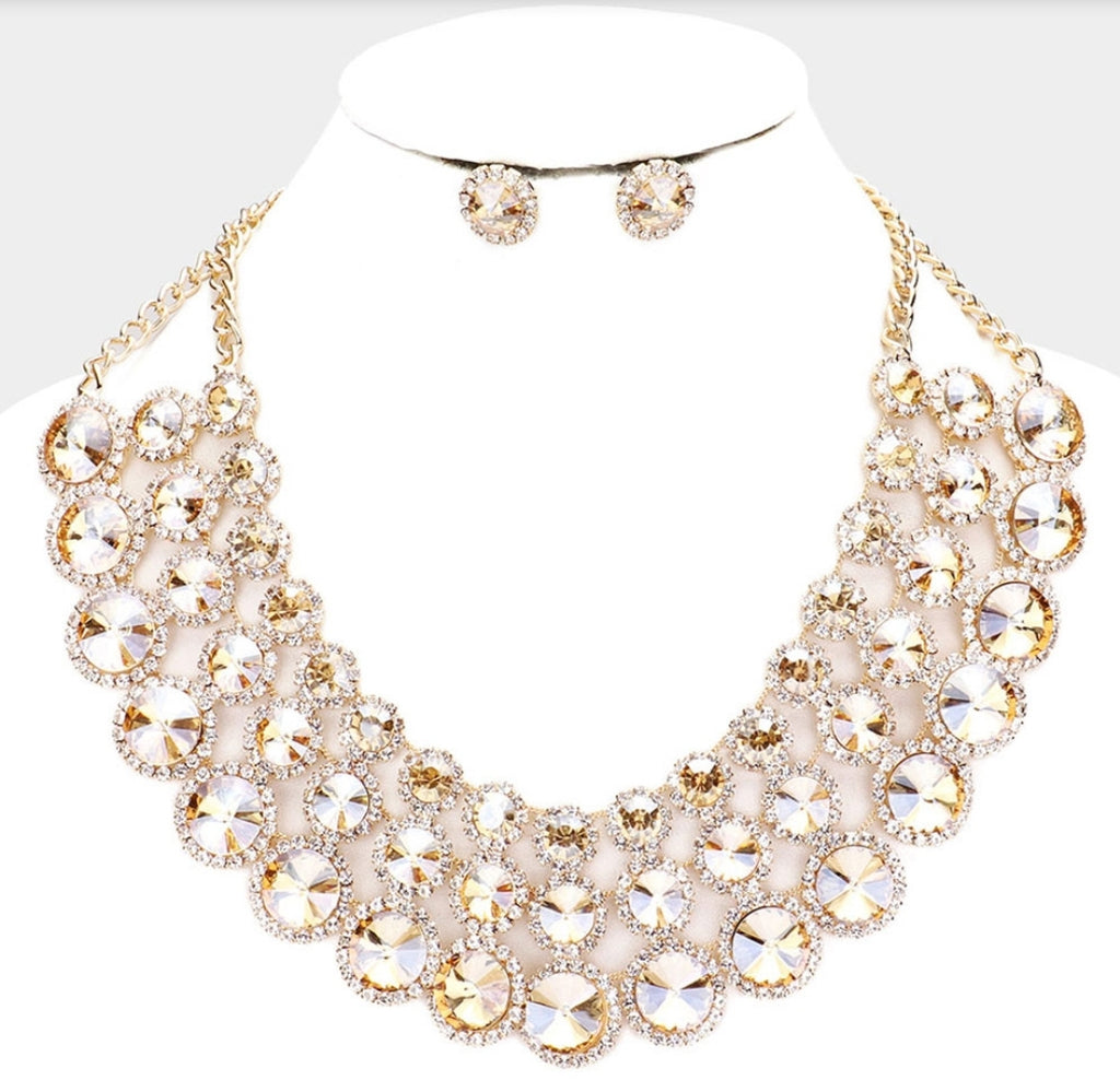 Crystal Disc Necklace Set