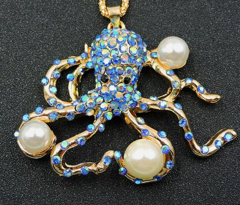 Blue Octopus Necklace