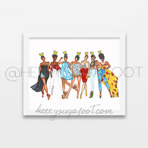 "Real Queens Fix Each Other Crowns - 12"" x 18"" Print"