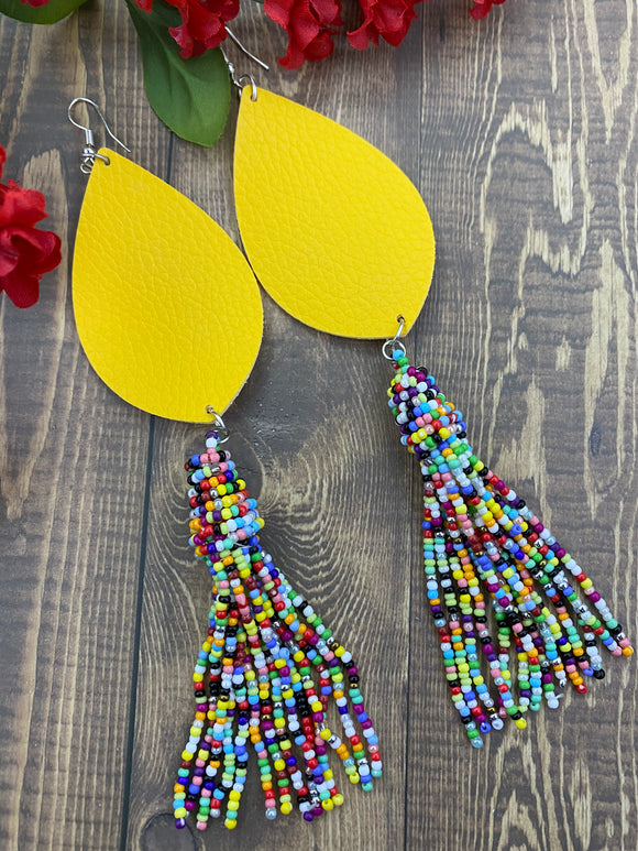 Yellow Boho Dangle Earrings