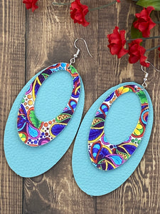 Spring Turquoise Leather & Paisley Earrings