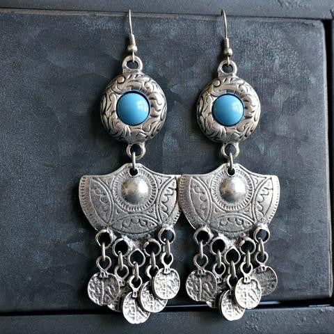 Boho Turquoise Coin Earrings