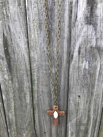 Long Wooden Cross Necklace