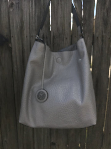 Reversible Hobo with Inner Pouch Silver/Steel