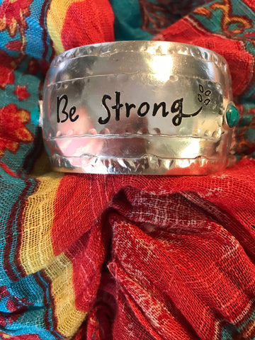Be Strong Silver Cuff Bracelet