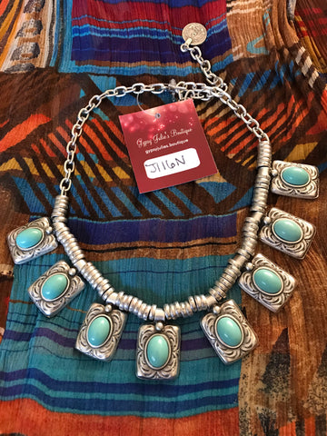 Tribal Silver & Turquoise Statement Necklace