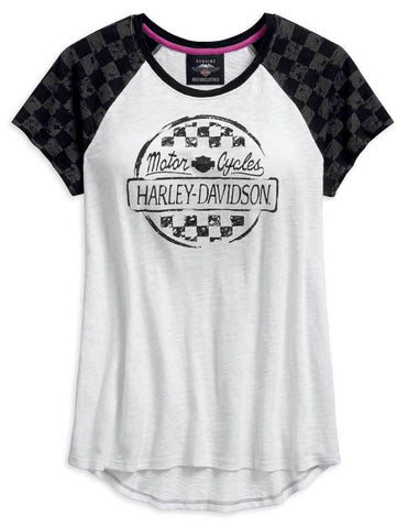 Harley-Davidson® Women's Checkered Raglan Short Sleeve Tee