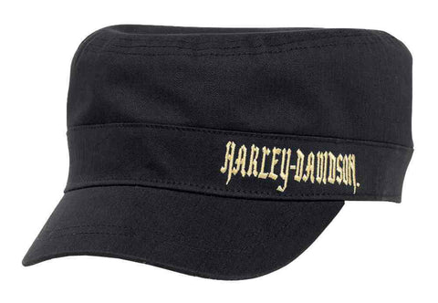 Harley-Davidson® Women's Embroidered Flat Top Cap w/ Plaid Underbill.