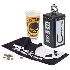 HARLEY-DAVIDSON® WILLIE G SKULL GAS PUMP BANK TALL GLASS GIFT SET, HDL-18755