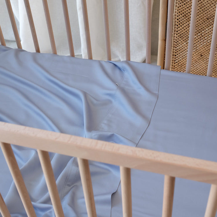 Blue bamboo cot sheets