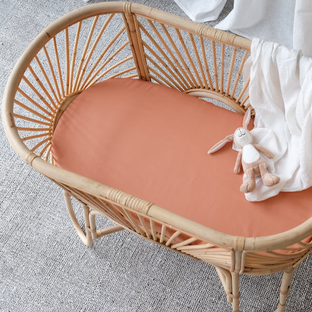 Bamboo bassinet sheet rust colour