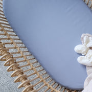Blue bamboo bassinet sheet