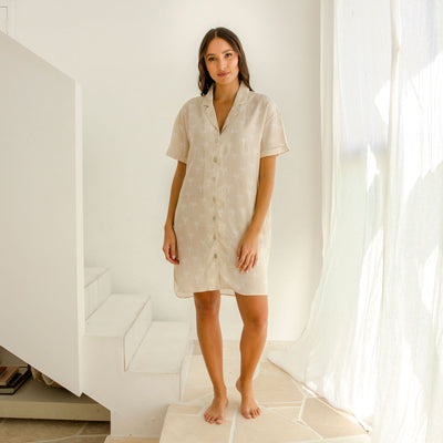 Ivy Bamboo Shirt Dress - Sand Palms
