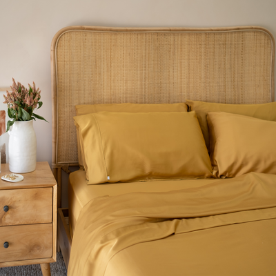 100% Organic Bamboo Quilt Cover Mustard