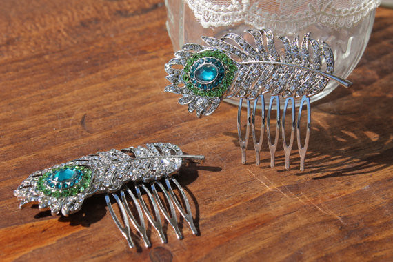 Teal Peacock Feather Brooch Haircomb, Teal and Green, Bridal Accessories, Bridal Hair, Peacock Headpiece, Hairpiece, Wedding Hair Comb, Blue