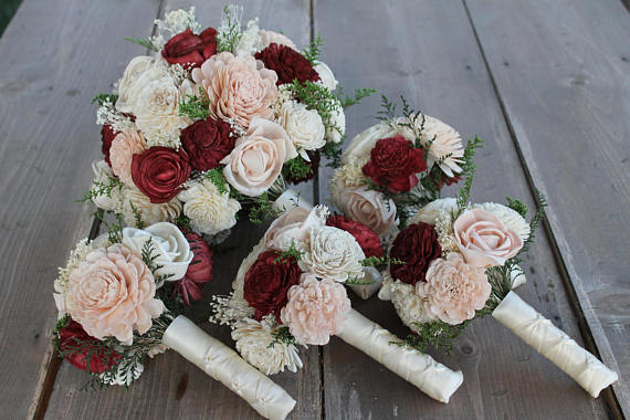 wooden flowers wedding bouquets burgundy sola wood bouquet burgundy blush pink amp 1486