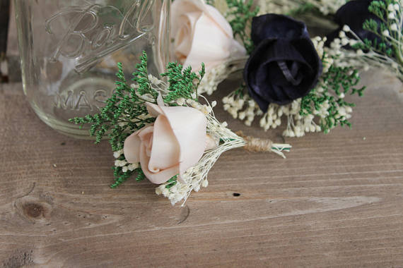 Blush Pink Single Rose Boutonniere