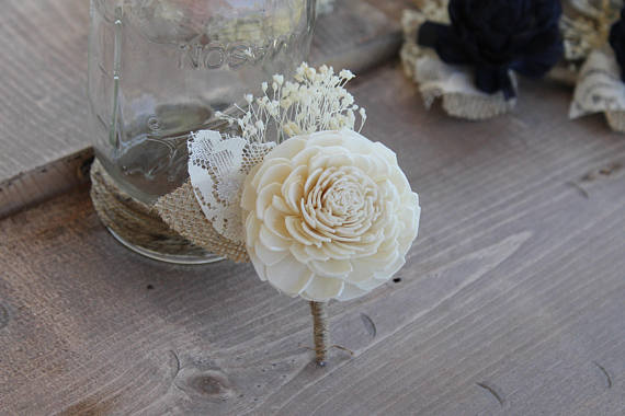 Sola Flower Boutonniere, Sola Wood Boutonniere, Groom Boutonniere, Groom Button Hole, Sola Boutonniere, White Wedding Boutonniere