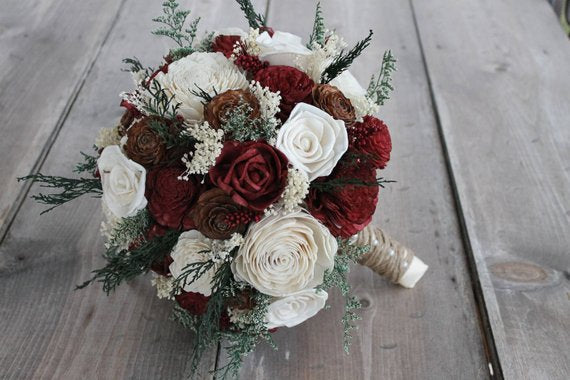 Burgundy & Ivory Cedar Rose Bouquet