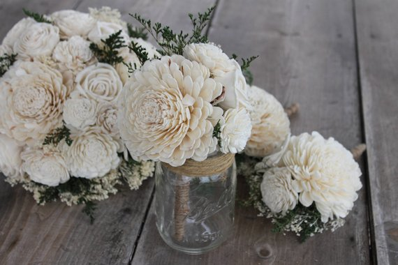 Peti Sola Wood Flower Bouquet, Small Ivory Bouquet