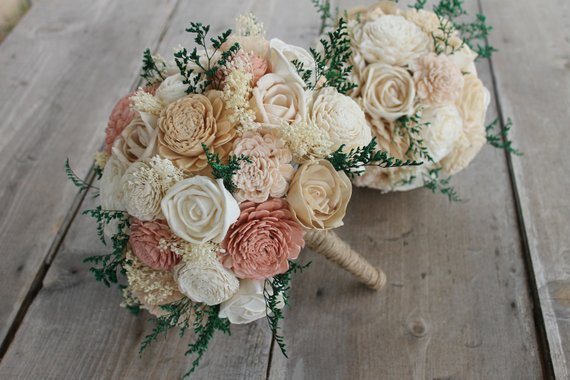 Blush Pink, Dusty Rose, Champagne, & Ivory Sola Wood Flower Bouquet