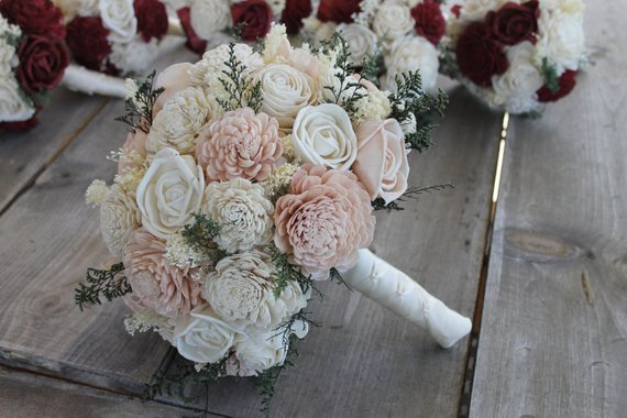 Blush Pink & Ivory Sola Wood Bouquet