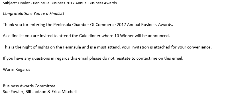 WE DID IT!!! Peninsula Business Award Nomination for Excellence in