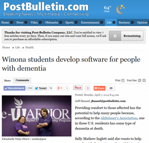 "4/7/14 - Winona Post Bulletin, ""Winona students develop software for people with demetia"""